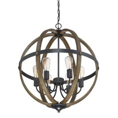 Trade Winds Rustic Foyer Pendant in Wood and Black - Oversized Pendants - by Style Entryway Chandelier, Kitchen Chandelier, Globe Chandelier, Globe Pendant, Lighting Store, Chandelier Lighting, Light Pendant, Wood And Metal Chandelier, Kitchen Lighting