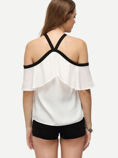 Shop White Ruffle Halter Off The Shoulder Blouse online. SheIn offers White Ruffle Halter Off The Shoulder Blouse & more to fit your fashionable needs. Womens Fashion For Work, Look Fashion, Korean Fashion, Fashion Design, Top Volant, Frill Blouse, Sewing Blouses, Animal Print Blouse, Bralette Crop Top