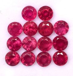 Items similar to Natural Ruby Round Cut 4 mm Lot 14 Pcs Calibrated Faceted Glass Filled Loose Gemstones on Etsy Natural Emerald, Natural Ruby, Semi Precious Gemstones, Loose Gemstones, Faceted Glass, Jewelry Sets, Crystals, Gifts, Etsy