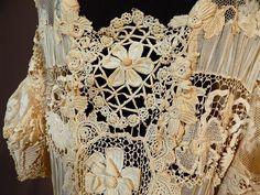 Edwardian Handmade Irish Crochet Lace Raised Roses Applique Wedding Gown Dress | eBay