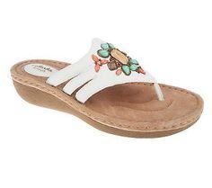 Clarks Artisan Amaya Yarrow Leather Thong Sandals with Jewel Detail
