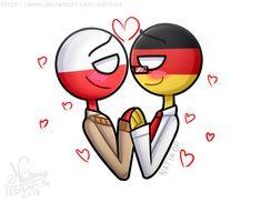 countryhumans : Gerpol germany x Poland Polish Memes, Germany Poland, Hetalia, Country Art, Disney Characters, Countries, Comics, Germany, Poland