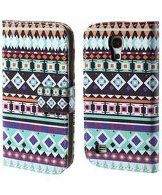 Samsung Galaxy S4 Mini Tribal Pattern PU Leren Wallet Case Blauw