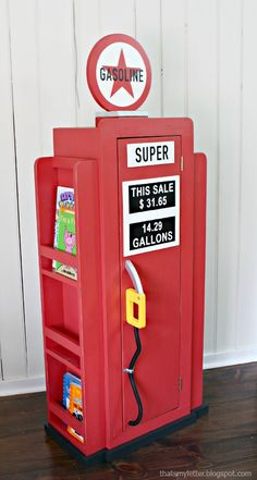 Build a Vintage Gas Pump Cabinet with Side Bookshelves. (Free and Easy DIY Project and Furniture Plans via Ana White). This is perfect for a kid's bedroom or play room.
