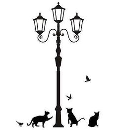 Street Lamp Post with Cats and Birds Silhouette Wall Stickers Black Decals