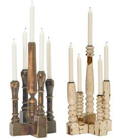 Spindle candle holders
