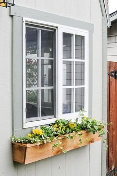 Easy 15 Fixer Upper Style DIY Cedar Window Boxes How to build a DIY window box for flowers and ideas for what to plant in a full sun or shade box Learn how to make a low. Cedar Window Boxes, Cedar Planter Box, Window Box Diy, Fixer Upper Style, Window Box Flowers, Diy Flower Boxes, Window Planter Boxes, Indoor Window Planter, Indoor Window Boxes