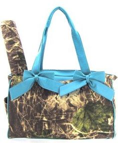 Blue Camo Camouflage Tote Purse Diaper Bag with Soft Velvety Feel.