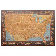 Linoleum Floorcloth  USA  Circa 1940  Circa 1940 exceptional linoleum floor cloth in a geographical and transportation motif, contemporary framing