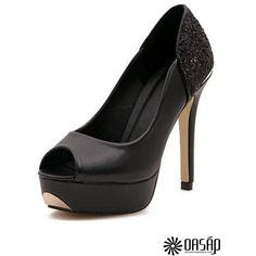 OL Lady Peep-toe Platforms OASAP.COM ($52) ❤ liked on Polyvore featuring shoes, pumps, heels, platform pumps, heel platform shoes, peeptoe shoes, peeptoe pumps and sequin pumps