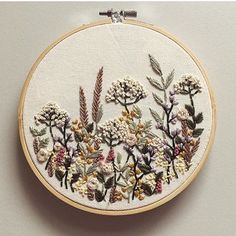 Feels funny to be stitching springtime wildflowers just as the snow is beginning… – Handstickerei Hand Embroidery Stitches, Modern Embroidery, Embroidery Jewelry, Embroidery Hoop Art, Hand Embroidery Designs, Vintage Embroidery, Cross Stitch Embroidery, Funny Embroidery, Embroidery Ideas