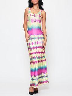 #Fashionmia - #Fashionmia Color Block Striped Exquisite Scoop Neck Maxi-dress - AdoreWe.com