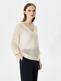 MOHAIR MIX - KNITTED PULLOVER, White Swan, large