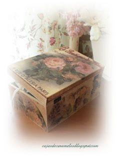 caja vintage para ganchillo Decoupage, Vintage Looks, Tin, Decorative Boxes, Suitcases, Handmade, Home Decor, Wood, Boxes