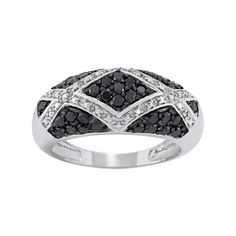 1 Carat T.W. Black and White Diamond Sterling Silver Geometric Ring, Women's, Size: 8
