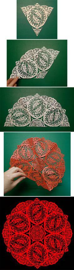 Phoenix. Japanese Kirigami Art(Cut Paper).