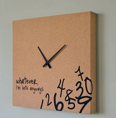 Late clock - want to do this for living room! Canvas, textured spray paint and acrylic paint