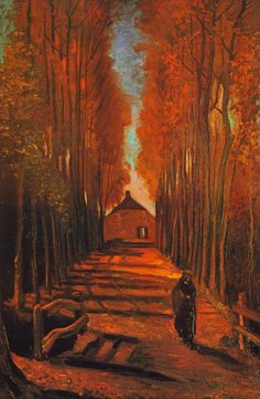 """Avenue of Poplars in Autumn"" (1884) by Vincent Willem van Gogh"