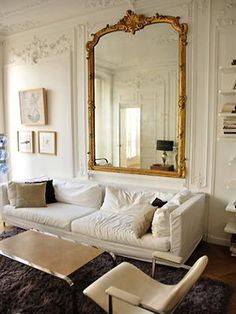 Etoile Apartment #paris - find huge antique French mirrors like this one at MAI Houston.