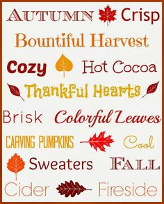 The Pin Junkie: Autumn Subway Art Free Fall Printables