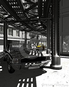 Digital recreation of a Ford Mustang car in  old Manhattan, under the elevated rails. A yellow cab in background.