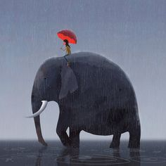 Elephant Rider by GorosArt on DeviantArt.  Lovely graphic image. the puddles are so simple but effective