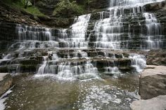 Albion Falls is a Complex Classic Cascade waterfall 19 metres in height. Located at the southernmost tip of King's Forest Park in Hamilton, its source is Red Hill Creek. Albion Falls enjoys year-round flow.