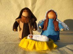Big People Nativity Wooden Peg Dolls.