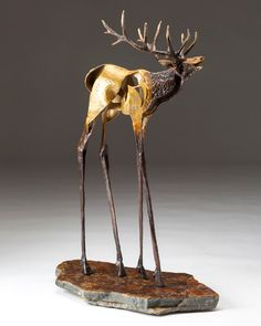 "Sandy Graves, Bugle, bronze, 18 x 10 x 4, featured in ""Portfolio 