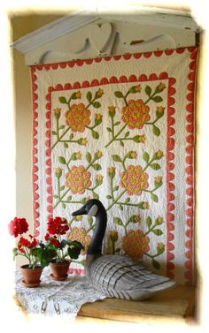 VintageBlessings ~ my favorite 19th century antique crib quilt in my bedroom! (I wish this was in MY bedroom!)