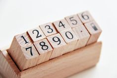 12 Pc Numeric Numbers Rubber Stamp Set in Wooden Stand.- Scrapbooking. Cardmaking. Tag Making. Stamping. Handmade. $5.90, via Etsy.