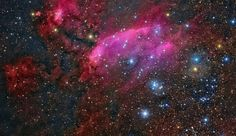 APOD:  The Prawn Nebula, IC 4628.  This emission nebula lies south of Antares in the constellation of Scorpius.  Massive hot, young stars irradiate the nebula with invisible UV light.  About 6000 ly distance. Composition using data from ESO wide field OmegCam and amatuer images from Tenerife Island.