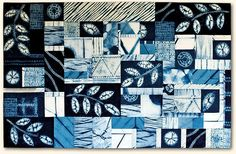 """Indigo Summer,  45.5"""" x 29"""", by Jessica Wang (Vancouver, BC.)  Shibori fabrics hand-dyed with natural indigo by the artist, hand-quilted.  Credits: Shibori workshop with Akemi Nakano Cohn. 2015 National Juried Show, Canadian Quilters' Association."""