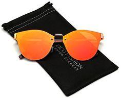 Rimless Cat Eye Women's Fashion Sunglasses Reflective Flat Lens