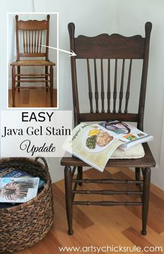 Antique Press Back Wood Chair Update (with Java Gel Stain)