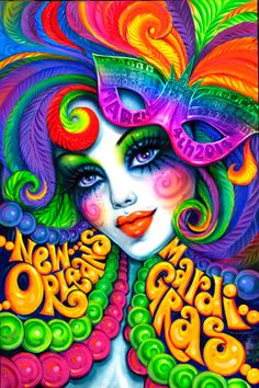 Andrea Mistretta's classic Mardi Gras face takes on a groovy feel with colors that will make your wall pop. Description from pinterest.com. I searched for this on bing.com/images