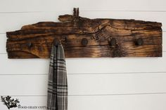 Railroad Spike Hook Rack by The Wood Grain Cottage. do this with old wood that was holding up chimney.
