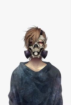 Anime boy with brown hair, red eyes, gas mask and black T-shirt
