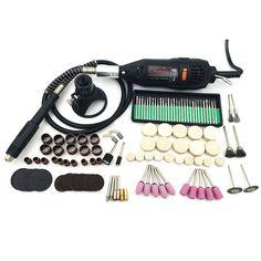 Electric Power Tools Mini Drill for Dremel Rotary Tools accessories with 140pcs drill bit cutting discs sanding paper flex shaft