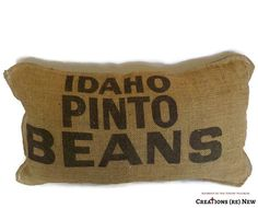 Throw Pillow Burlap and Denim  Recycled Idaho by CreationsReNew