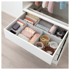 IKEA - KOMPLEMENT, Box, light gray, The box helps you organize clothes and accessories. Soft felt protects your accessories and keeps them neatly in place. You can easily customize your own storage solution by combining boxes in different sizes. Bathroom Organization, Bathroom Storage, Organization Hacks, Dresser Drawer Organization, Ikea Storage, Organization Ideas For Bedrooms, Ikea Makeup Storage, Clothing Organization, Closet Organization