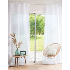 Visillo con lazos de lino blanco 105x300 | Maisons du Monde