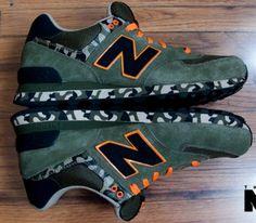 New Balance 574 – Green / Orange - Black