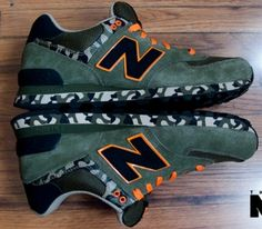 New Balance 574 – Green / Orange - Black
