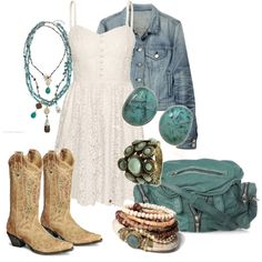 Turquoise and white with jean mixed in. Don't know if I can pull off the cowboy boots tho...