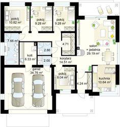Projekt domu Neptun 6 119,56 m² - Domowe Klimaty Plans Architecture, Garden Design, House Design, Cozy House, Home Projects, House Plans, Floor Plans, How To Plan, Home Decor