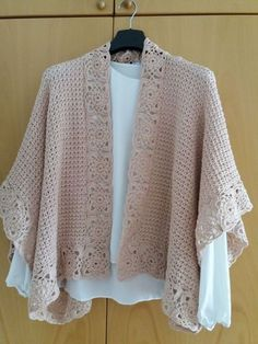 Crochet Cape, Crochet Shawls And Wraps, Crochet Cardigan Pattern, Crochet Motifs, Crochet Jacket, Crochet Scarves, Crochet Clothes, Knit Crochet, Easy Crochet