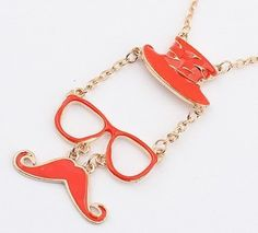 Fasion jewelry promotion store,Supply all kinds of cheap fashion jewelry Hot hat glasses mustache color necklace fashion necklace - Clip On Earrings, Stud Earrings, Cheap Fashion Jewelry, Mustache, Fashion Necklace, Jewelry Shop, Bling, Pendant Necklace, Personalized Items