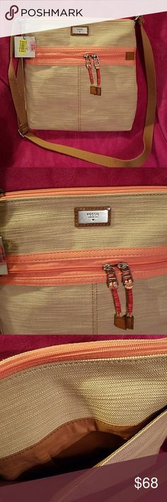 FOSSIL CROSSBODY FOSSIL CROSSBODY made of a tan canvas material, spacious with lots of pockets. 1zipper pocket in front and 1 open pocket in back. Inside comes with  2 open pockets and 1 zipper pocket. Comes from a smoke free and pet free home. FOSSIL  Bags Crossbody Bags
