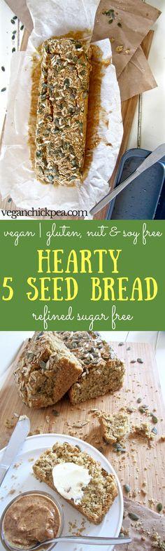 Hearty 5 Seed Bread recipe - an everyday bread that is vegan, gluten / nut / refined sugar free!   veganchickpea.com